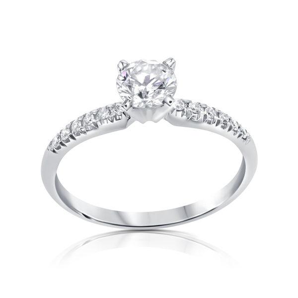 תמונה של טבעת אירוסין סוליטר - שיבוץ צד