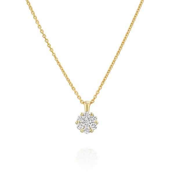 תמונה של תליון יהלומים - עיצוב פרח יהלומים