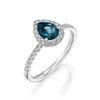 תמונה של טבעת יהלומים טיפה - בלו טופז